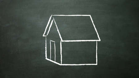 house drawing on the blackboard photo