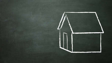 house drawing on the blackboard Stock Photo - 12753819