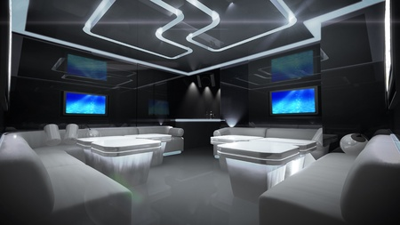 equalize: the Nightclub interior design with the cyber style theme  Stock Photo