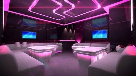 the Nightclub interior design with the cyber style theme  Stock Photo