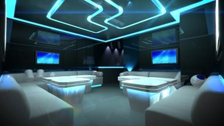 club: l'interior design Nightclub con il tema in stile cyber-