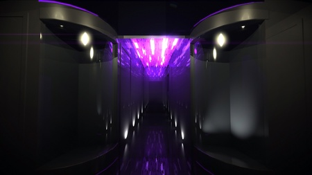 the interior design of Space Corridor for the future technology theme photo