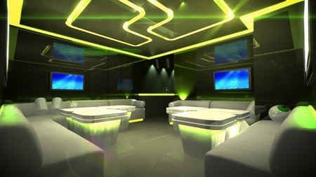 dance studio: the Nightclub interior design with the cyber style theme  Stock Photo