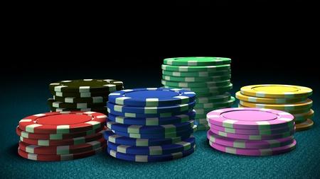 fichas de casino: La representaci�n 3D de fichas de casino de diferencia de color