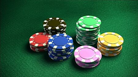 The 3d rendering of difference colored casino chips photo