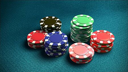 The 3d rendering of difference colored casino chips Stock Photo - 13628254