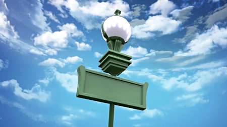the blanked signage board and street lamp over the blue sky background photo