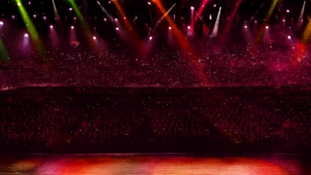 concert with red spotlight Banco de Imagens