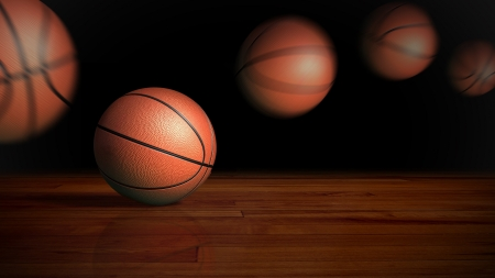 bouncing: contrast basketball on the wood floor graphic background