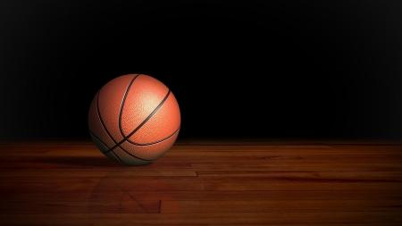 木製の床のグラフィック背景のバスケット ボール