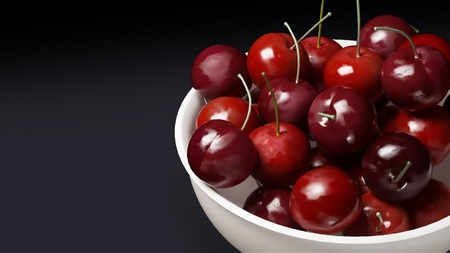 fresh cherries with white bowl graphic background photo