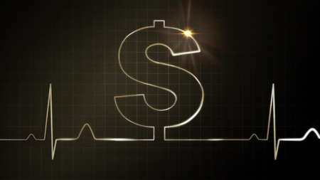 oscillate: The dollar sign graphic of EKG monitor for finance theme