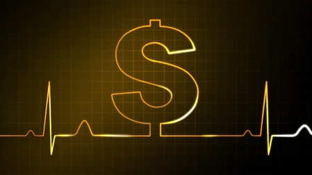 The dollar sign graphic of EKG monitor for finance theme photo