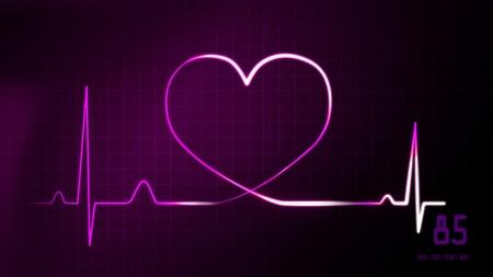 heart monitor: heartbeat graphic of EKG monitor represent of love