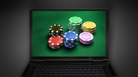 richer: gambling chip is display on laptop screen