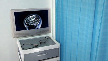 brain xray screen at medical room concept 3d render photo