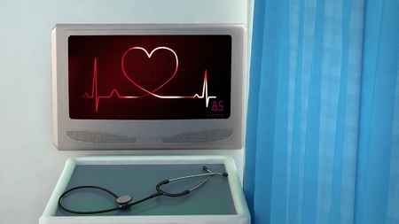 love life: heart of ekg medical room concept 3d render