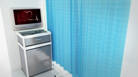 heart of ekg medical room concept 3d render photo
