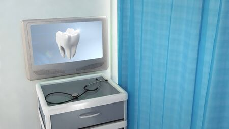 tooth screen in medical room concept 3d render photo