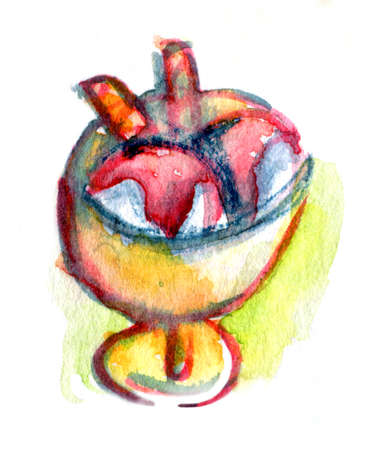 range fruit: Colorful watercolor drawing for use in artistic background Stock Photo