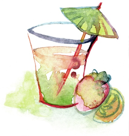 Colorful watercolor drawing for use in artistic background photo