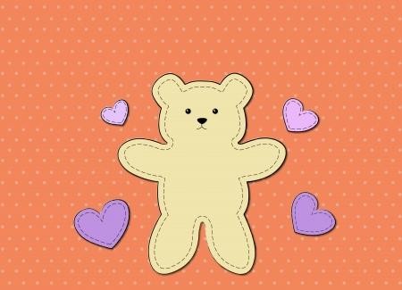 children s: Teddy Bear greeting card use for cartoon and graphic design Stock Photo
