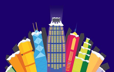 hong kong night: Cartoon Hong Kong night view of skyline
