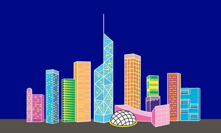Cartoon Hong Kong night view of skyline photo
