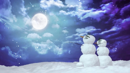 Snowman Couple can use for Christmas and winter concept   photo