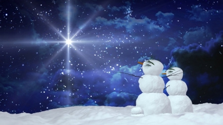 winter evening: Snowman Couple can use for Christmas and winter concept