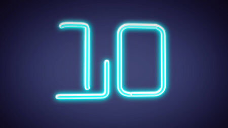 number border: the countdown number graphic of nero light glow