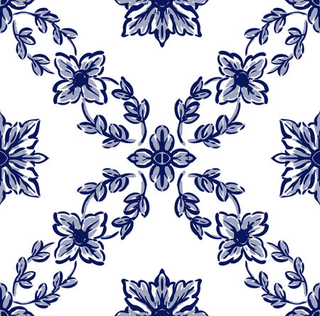 larger: Classical flower graphic for unlimited repeat to larger pattern