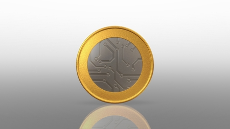 The digital currency coin of peer-to-peer for capital transaction Stock Photo - 27780346