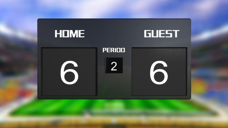 scoreboard: soccer match scoreboard display the goal result with out focus stadium background