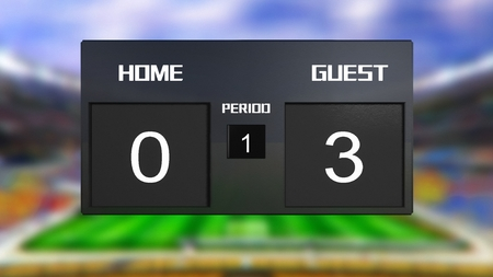 soccer match scoreboard display the goal result with out focus stadium background photo