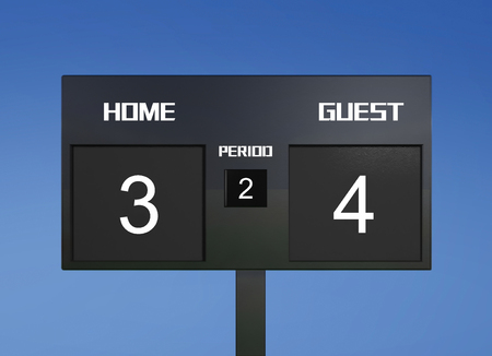 lost world: soccer match scoreboard display the goal result