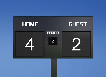 soccer match scoreboard display the goal result  photo