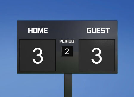 out of focus: soccer match scoreboard display the goal result with out focus stadium background