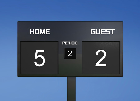 scores: soccer match scoreboard display the goal result