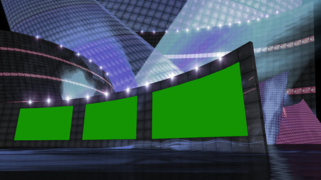 studios: entertainment news virtual set  with green screen Stock Photo