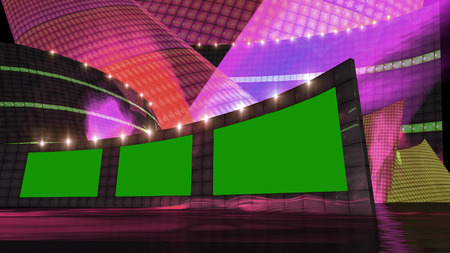 square dancing: entertainment news virtual set  with green screen Stock Photo