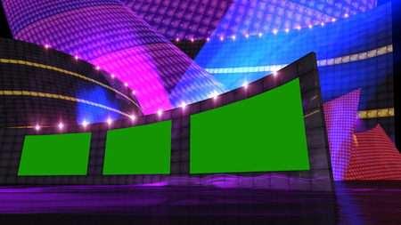entertainment news virtual set  with green screen Banque d'images