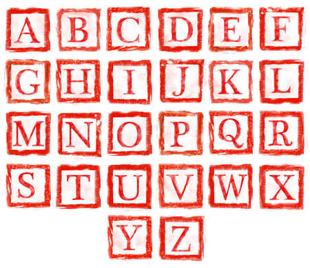the collection of rubber stamp characters, can easy to combine the letter for various combination of word  photo