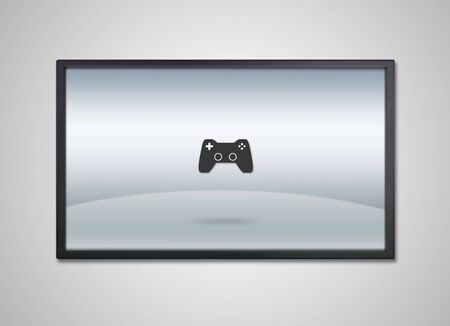 game icon is showing on the monitor display, it is representing the selection of entertainment application  photo