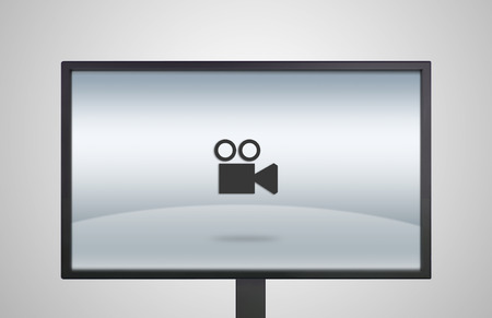camera icon is showing on the monitor display, it is representing the selection of entertainment application photo