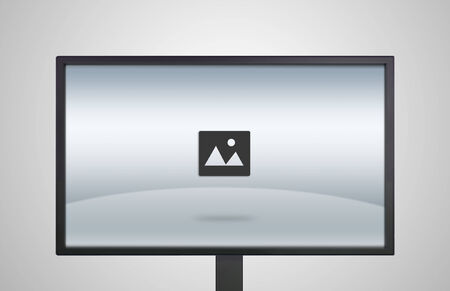 image icon is showing on the monitor display, it is representing the selection of entertainment application photo