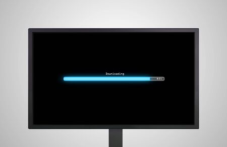 the monitor display show with color bar line representing the process of loading photo