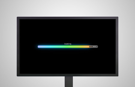 installing: the monitor display show with color bar line representing the process of loading