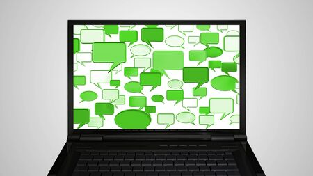conversation icon: conversation icon is on the monitor display representing the social network concept  Stock Photo