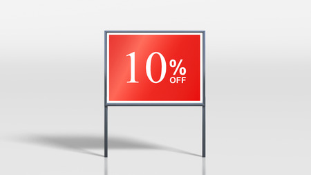 attention grabbing: 3d render of shop signage stands 10 percent off sign Stock Photo